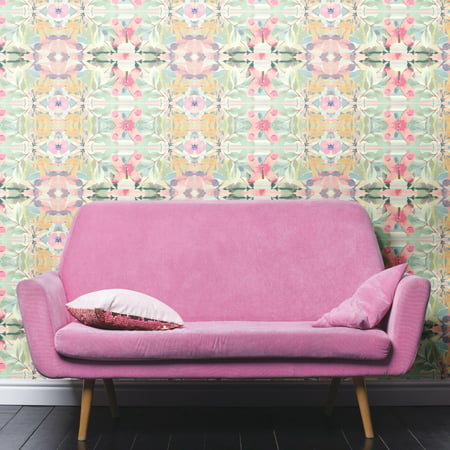 Silhouette Floral Wallpaper - RoomMates Synchronized Floral Pink Peel & Stick Wallpaper