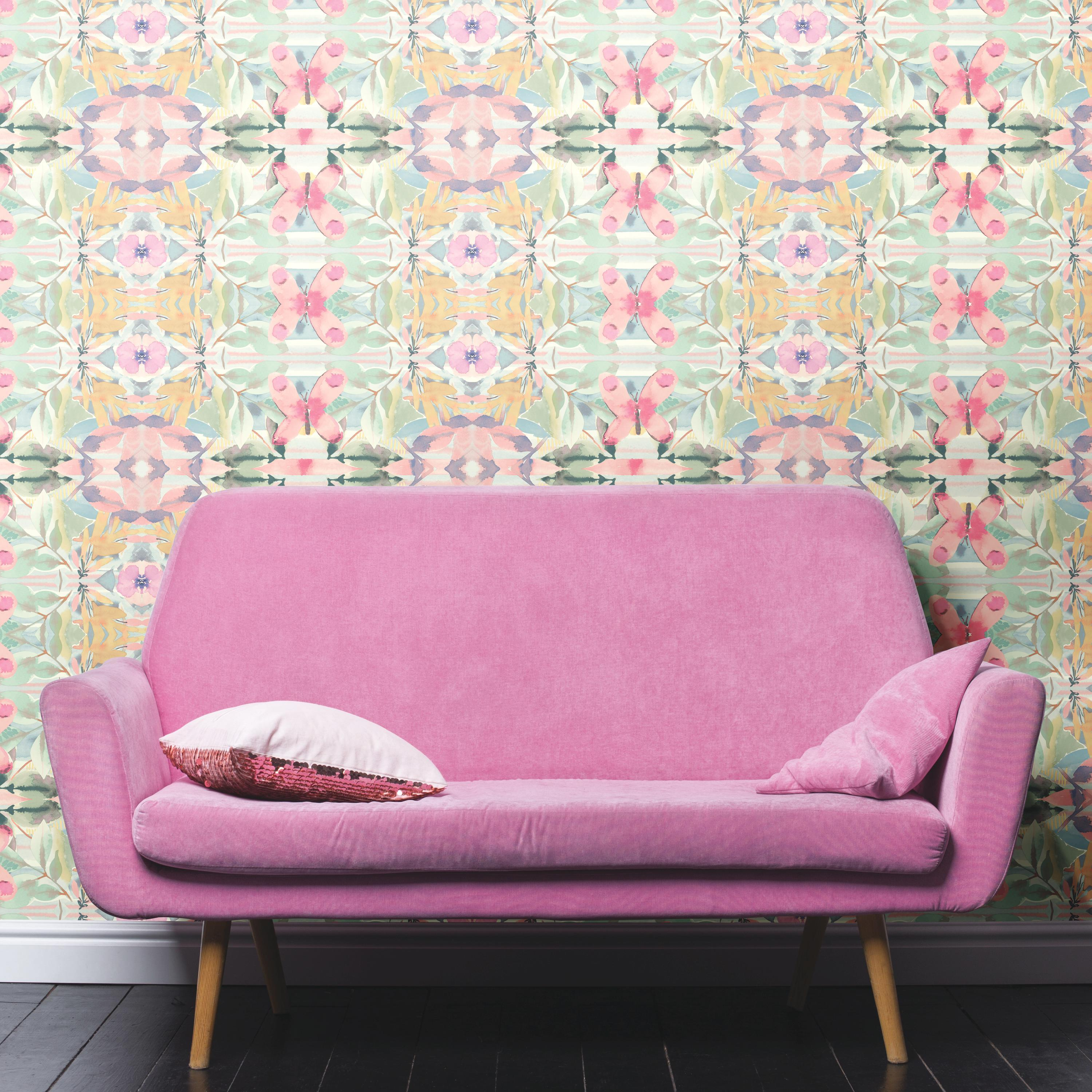 RoomMates Synchronized Floral Pink Peel & Stick Wallpaper