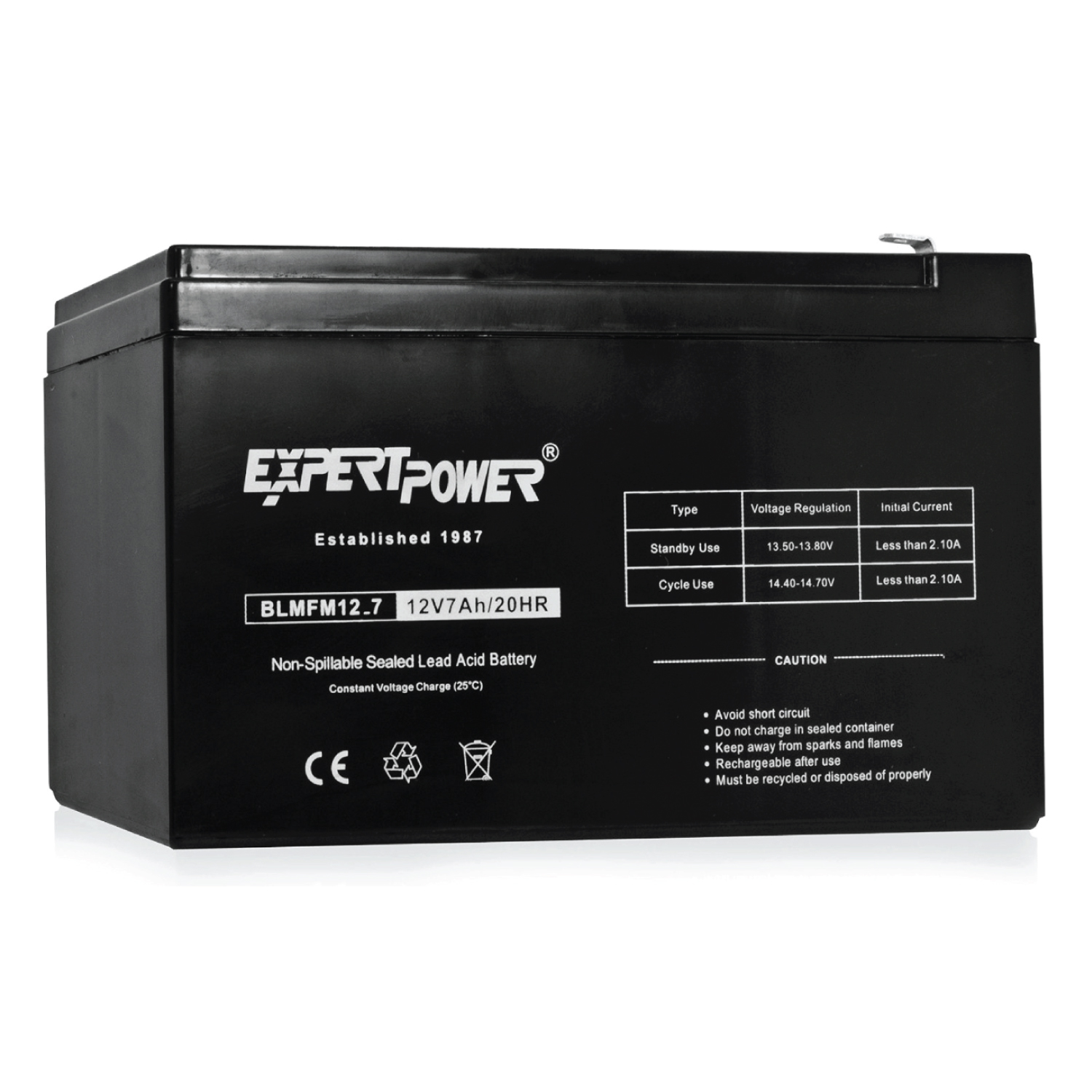 EXP1270 - 12 Volt 7 Amp Hour(12V 7Ah) Fully Sealed (SLA) Lead Acid Battery With Advanced Glass Mat Technology(AGM). Replacement for UPS, Scooters, Emergency lights, Cable boxes, and Fios units.