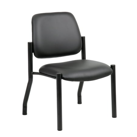 Boss Office Products Big and Tall Transitional Black Antimicrobial Armless Guest Chair