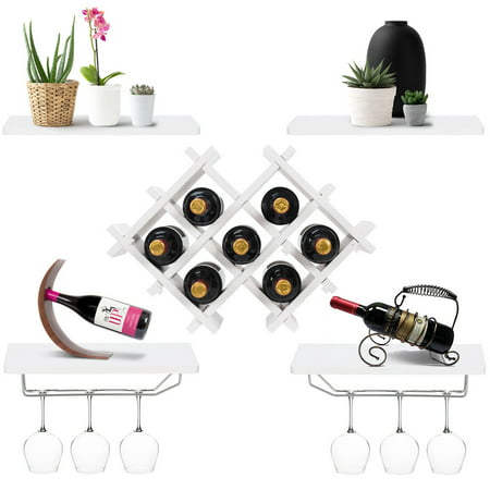 Gymax Set of 5 Wall Mount Wine Rack Set Storage Shelves and Glass Holder White ()