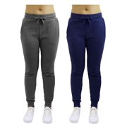 Womens Fleece Jogger Sweatpants With Zipper Pockets (2-Pack) - SLIM FIT