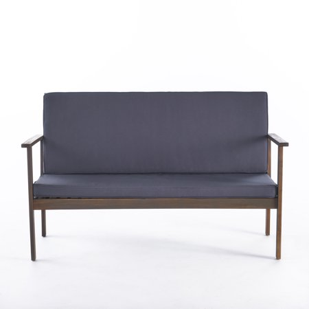 Luna Outdoor Acacia Wood Bench with Water Resistant Fabric Cushion, Dark Grey ()