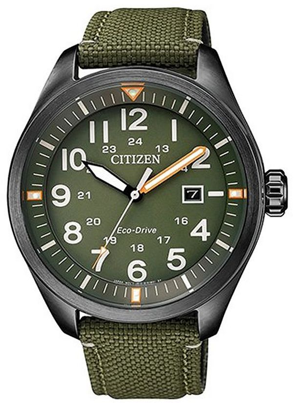 Men's Citizen Eco-Drive Green Military Style Watch AW5005-21Y
