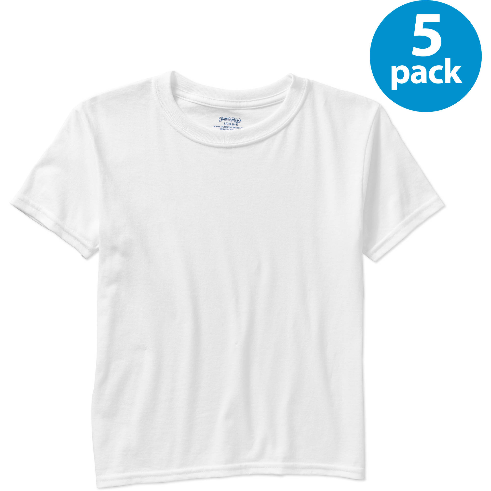Faded Glory Boys Crew T Shirt Pack Of 5 Walmart