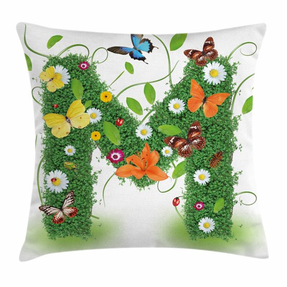 Decorative Pillow Shapes And Sizes : Letter M Throw Pillow Cushion Cover, Wildflowers with Butterflies of Various Shapes and Sizes ...