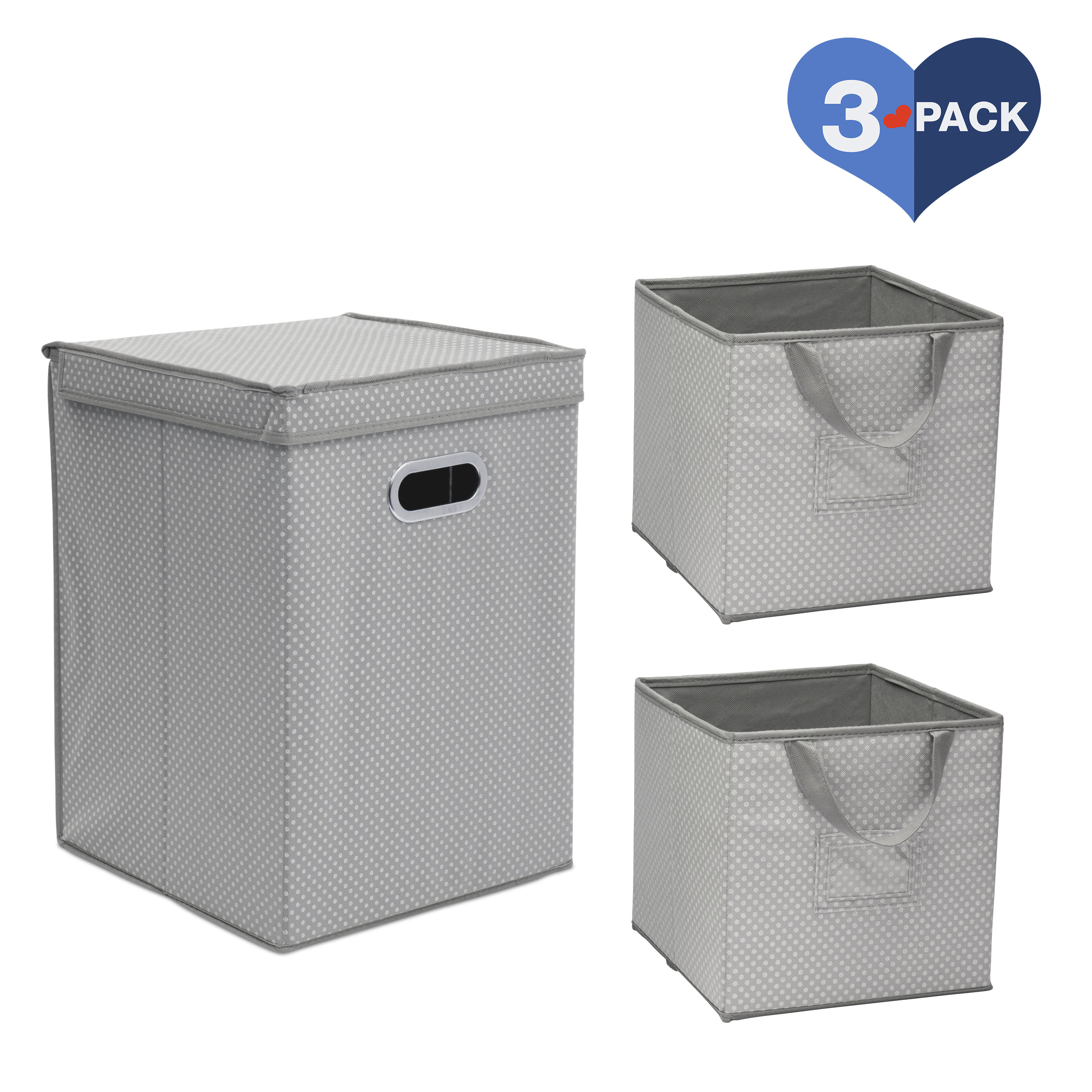 Delta Children 3-Piece Nursery Organization Set for Babies and Kids – Includes 2 Foldable/Collapsible Storage Bins and 1 Compact Hamper, Dove Grey