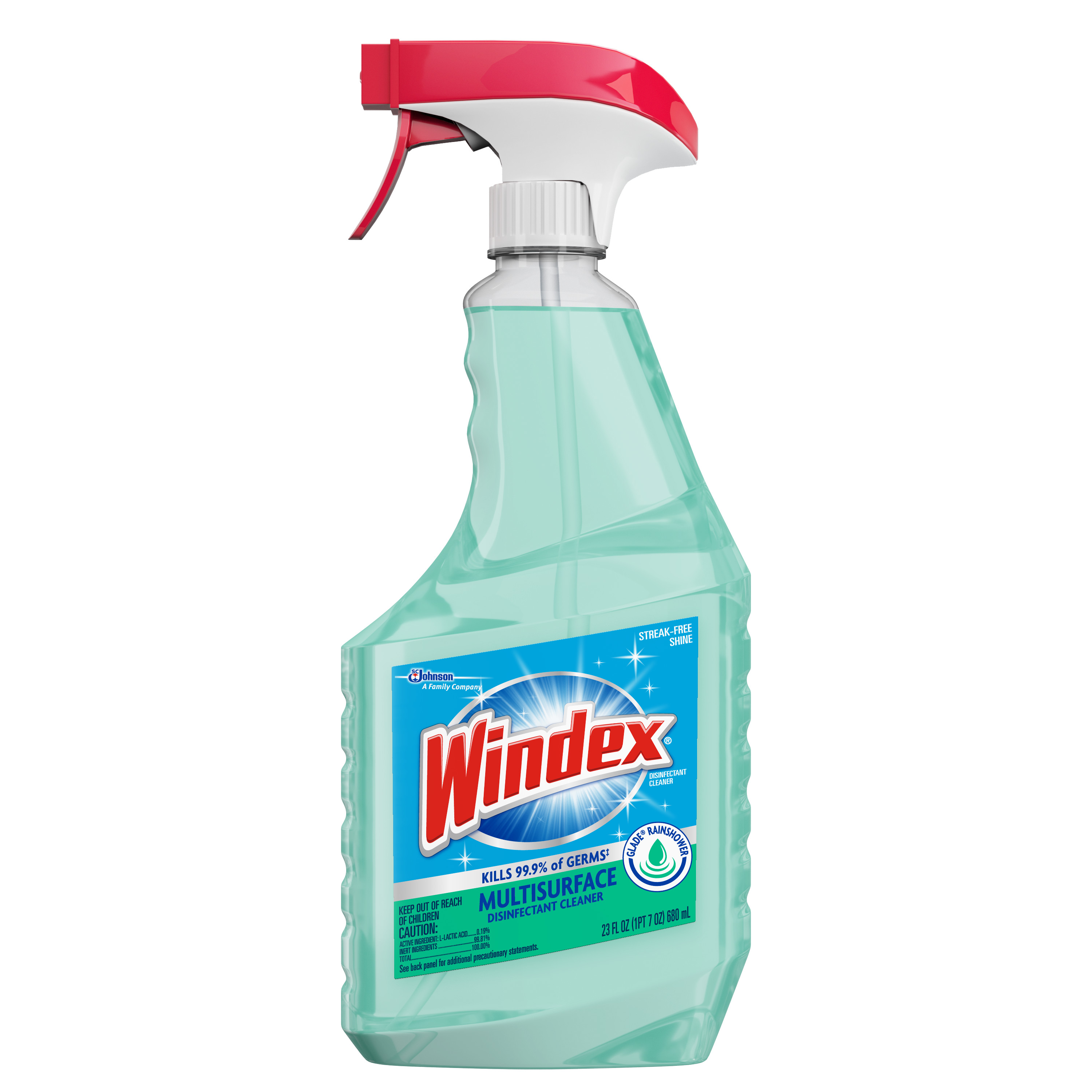 Windex Disinfectant Cleaner Multi-Surface Trigger, Glade Rainshower, 23 Fluid Ounces
