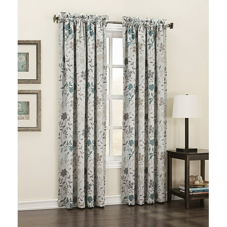 Kara Floral Print Energy Efficient Curtain Panel  54  X 84   Stone Beige  100  Polyester Ship From Us     By Sun Zero