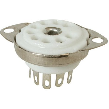 Mount Tube Socket (Vacuum Tube Socket, 9 Pin / Miniature, Ceramic, Bottom Chassis Mount, with Center Terminal / Shield By AmplifiedParts )