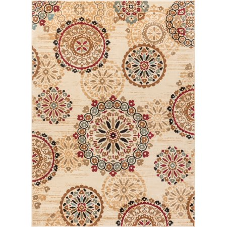Rosy Suzani Ivory Multi Red Green Oriental Floral Geometric Modern