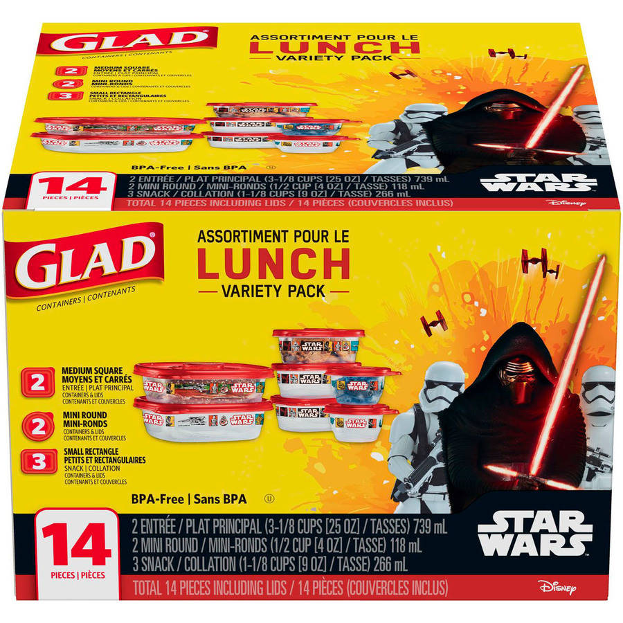 Glad Lunch Variety Pack Star Wars Food Storage Containers, BPA Free, 14 pk