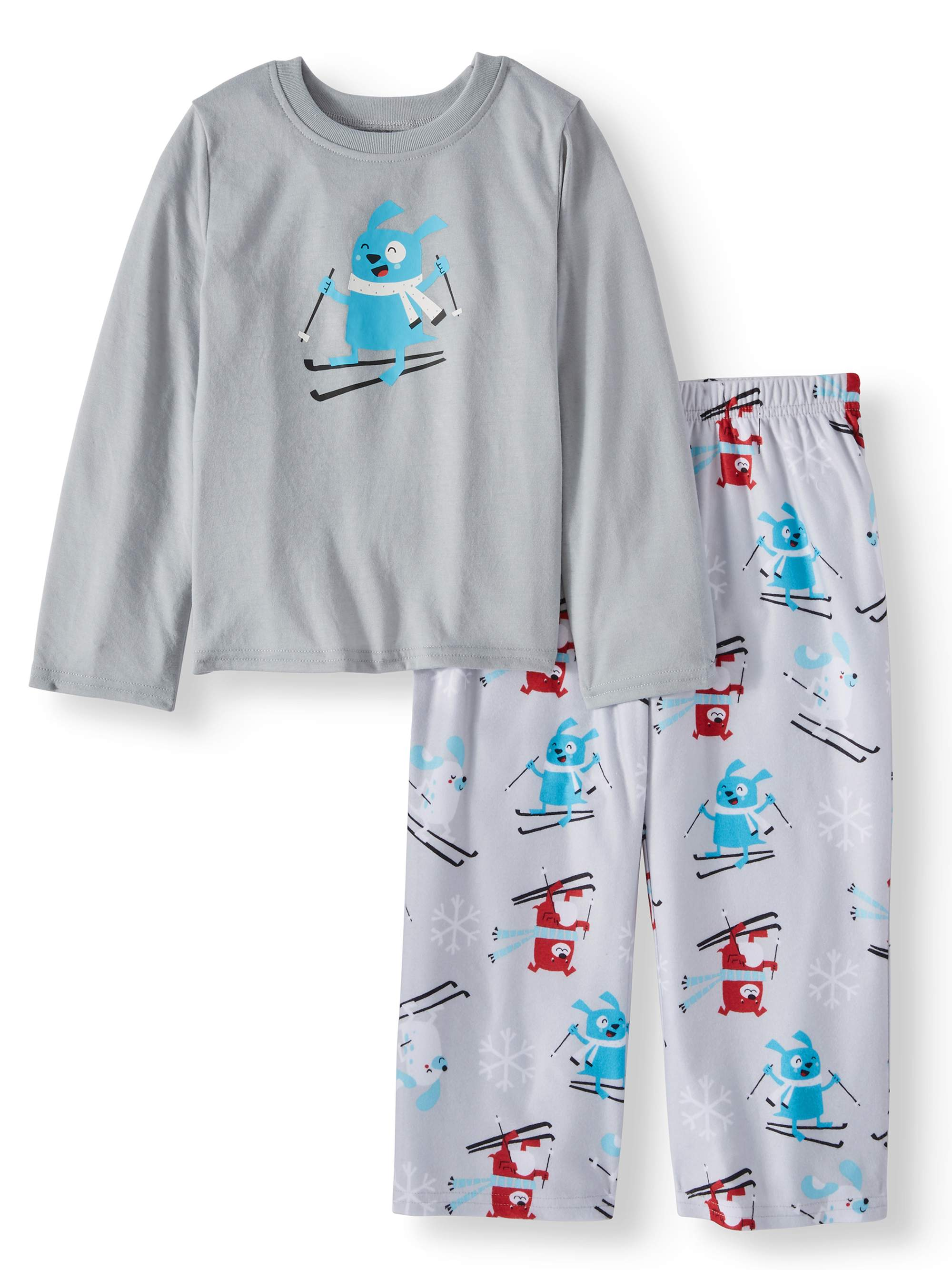 Family PJs Family Sleep Holiday Ski Dogs 2 Piece Pajama Sleep Set (Toddler Boys)