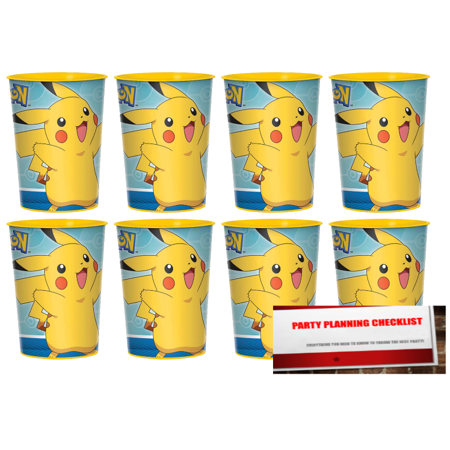 Pokemon-Pikachu 16oz Plastic Favor Cups 8 Pack (Plus Party Planning Checklist by Mikes Super Store)