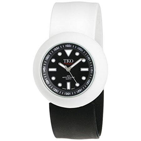ORLOGI Women's TK589-BWB Black and White Rubber Slap Watch ()