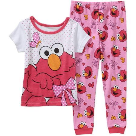 a618790cc5 Sesame Street - Elmo Baby Toddler Girl Short Sleeve Cotton Tight Fit  Sleepwear Set - Walmart.com