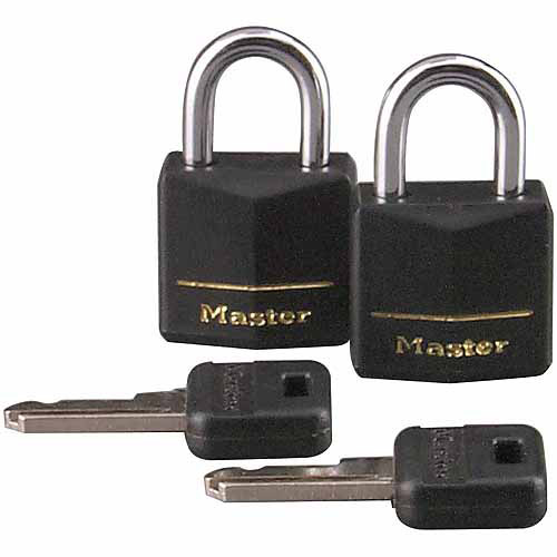 "Master Lock 121T 2-Count 3/4"" Black Vinyl Cover Brass Padlock"