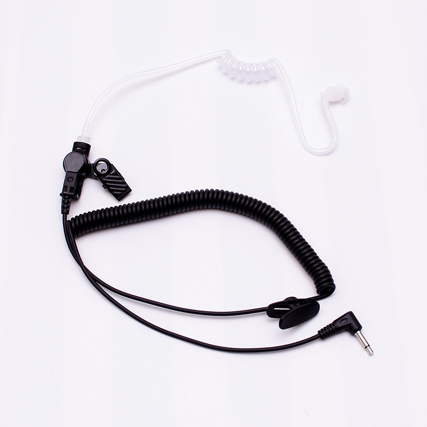 Maxtop ARP35_35L Clear Coil Acoustic Ear Tube Receiving Only Earphone with 3.5mm Plug for Speaker Microphone