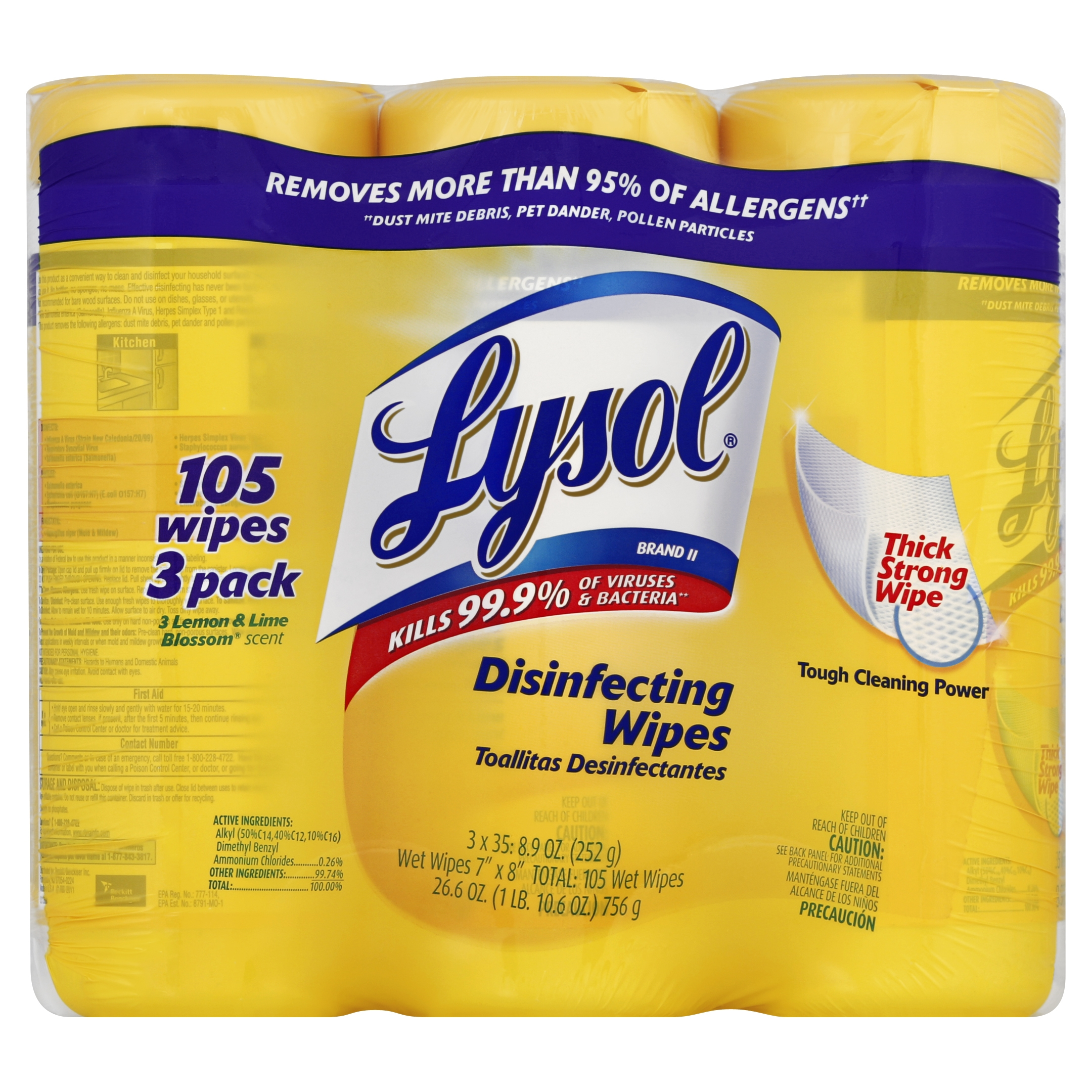 Lysol Disinfecting Wipes Value Pack, Lemon and Lime Blossom, 105 Count