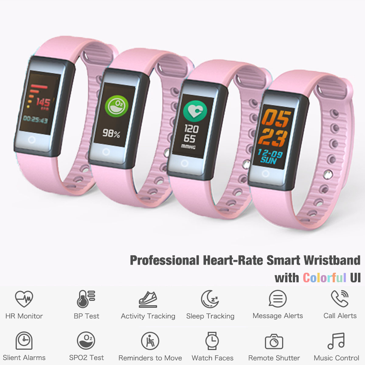 Indigi Fitness Watch Smart Bracelet & Wristband - Bluetooth 4.0 w/ Heart Rate / Blood Pressure / Sleep Monitor / Calorie