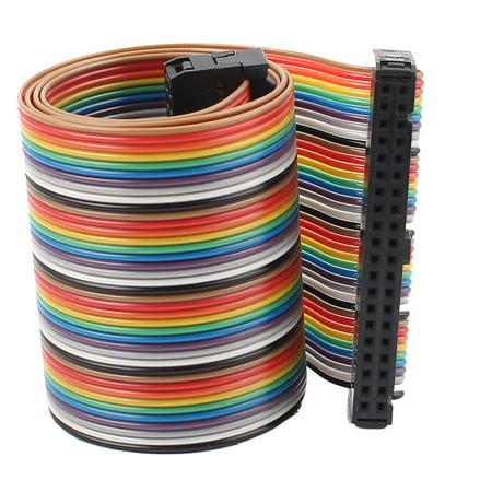 2.54mm Pitch 40 Pin 40 Way F/F Connector IDC Flat Rainbow Ribbon Cable 1.6ft