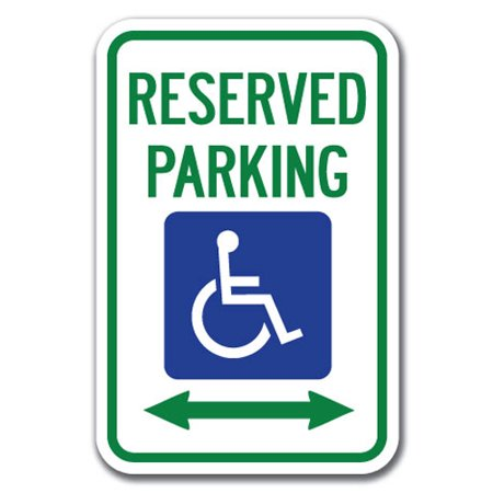 Reserved Parking Right Arrow (Reserved Parking with Handicapped Symbol and Arrow Pointing Left and Right Sign 12