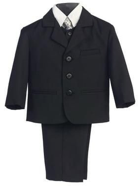 Little Boys Black Special Occasion Wedding Easter 5pc Suit Set 12M-14