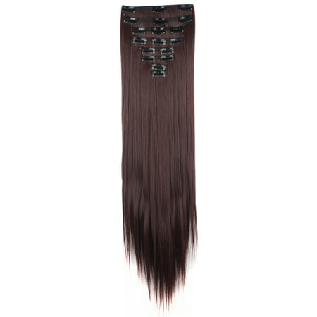 "FLORATA 23"" Long Straight Double Weft Full Head Clip in Synthetic Hair Extensions 8 Pieces 18 Clips 175g"