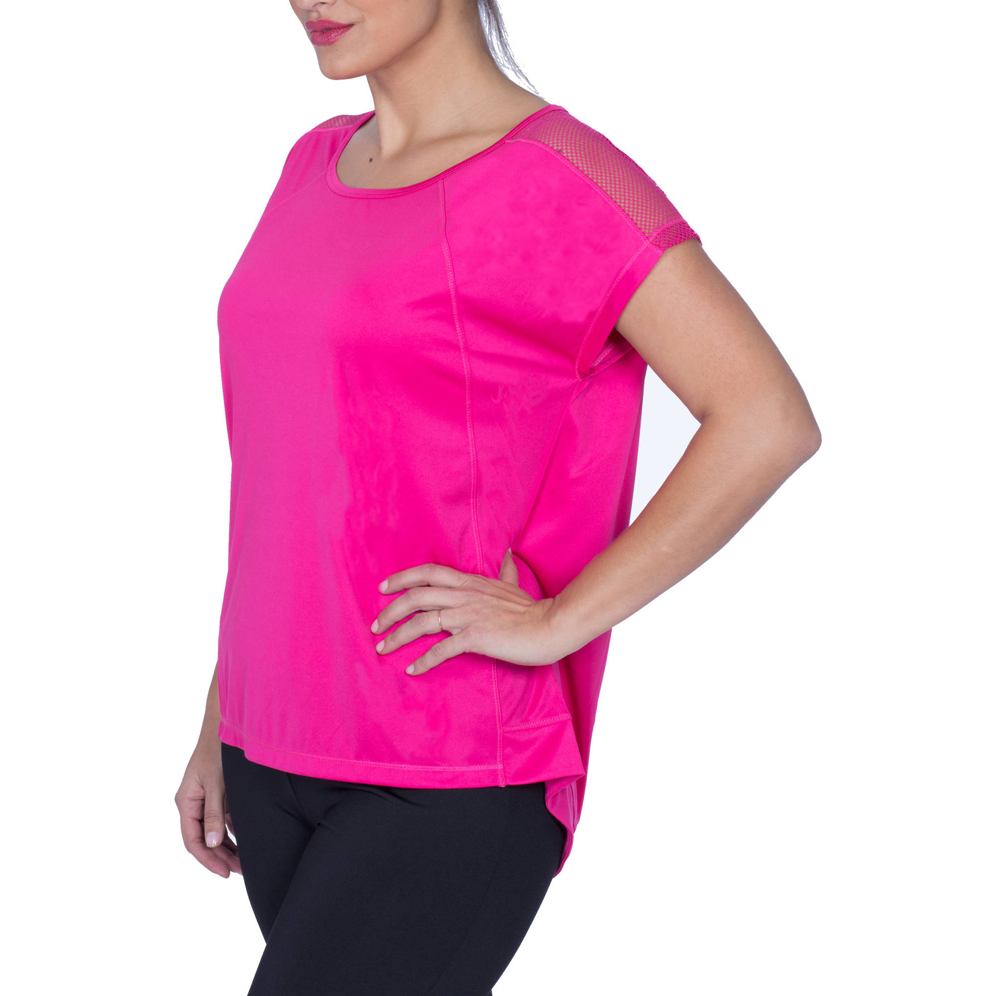 Plus Moda Tek Women's Plus-Size Crew Neck Tee with Mesh Inset