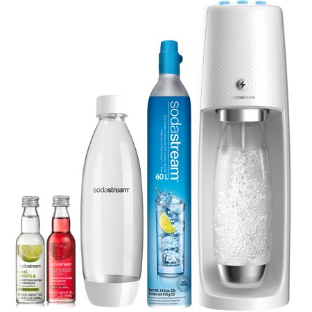 SodaStream Fizzi One Touch White Sparkling Water Maker Bundle With (2) BPA-Free Bottles and (2) Fruit Drops