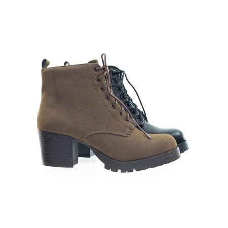 Lug Sole Boots (Nevitt by Soda, Lace Up Military Combat Ankle Boots w Lug Sole & Vintage Fabric)