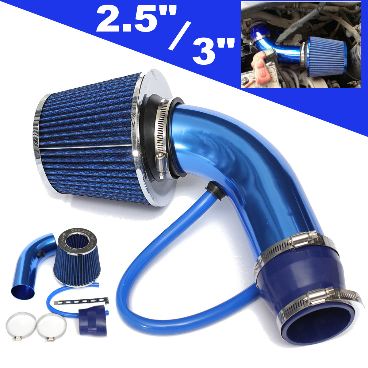 Universal Performance Cold Air Intake Filter Alumimum Induction Pipe Hose System Blue