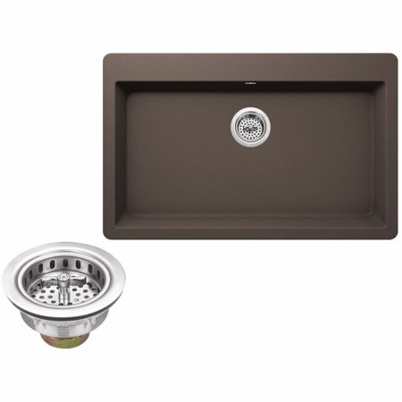 "Drop In Single Bowl - Cahaba CA344SB33-M Quartz Topmount / Drop In Single Bowl Kitchen Sink, 33"" x 20 7/8"" with Twist and Lock Strainer"