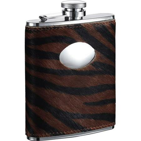Visol  Bengal Synthetic Tiger Pattern Calf Hair Liquor Flask - 6 ounces