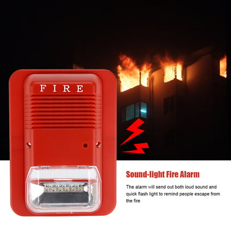 Strobe Fire Alarm Wire (Sound-light Fire Alarm,Ymiko Sound & Light Fire Alarm Warning Strobe Horn Alert Safety System Sensor for Home Office Hotel)