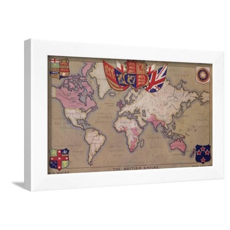 Map Showing the British Empire with Flags and Coats of Arms Framed Print Wall