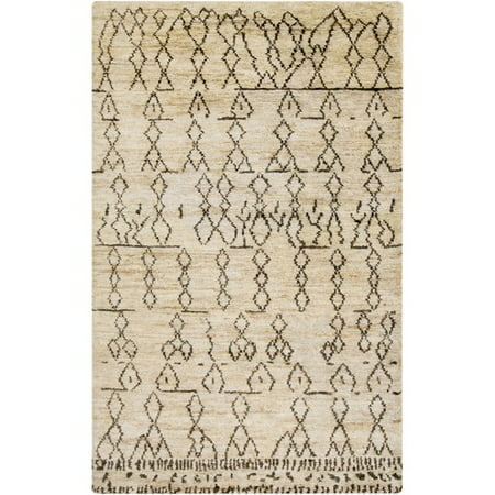 8' x 11' Cavern Painted Sand Beige and Mocha Brown Hand Knotted Area Throw Rug (Hand Knotted Sand)