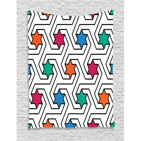 House Decor Tapestry, Colorful Star on Abstract Pop Art Geometric Pattern Modern Teen Room Rock Punk Print, Wall Hanging for Bedroom Living Room Dorm Decor, 60W X 80L Inches, Multi, by Ambesonne](Punk Rock Decor)
