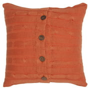 "Rizzy Home Cable Knit Buttoned Back Cotton Decorative Throw Pillow, 18"" x 18"", Orange"