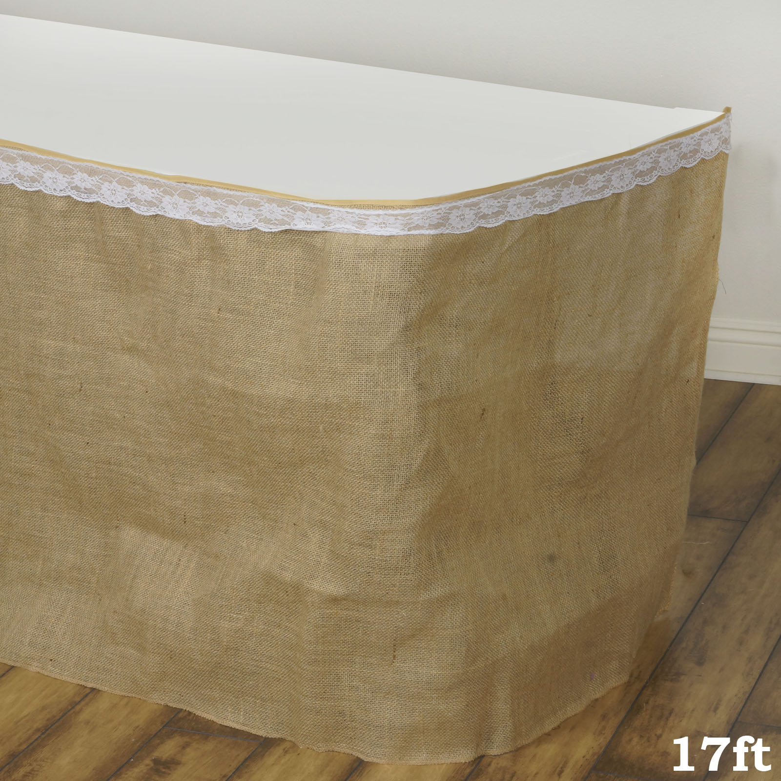 """BalsaCircle Natural Brown 17 feet x 29"""" Burlap Table Skirt - Linens Wedding Party Events Decorations Kitchen Dining Catering"""