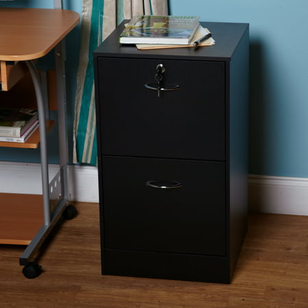 Wilson 2 Drawer Vertical Wood Lockable Filing Cabinet, Black ()
