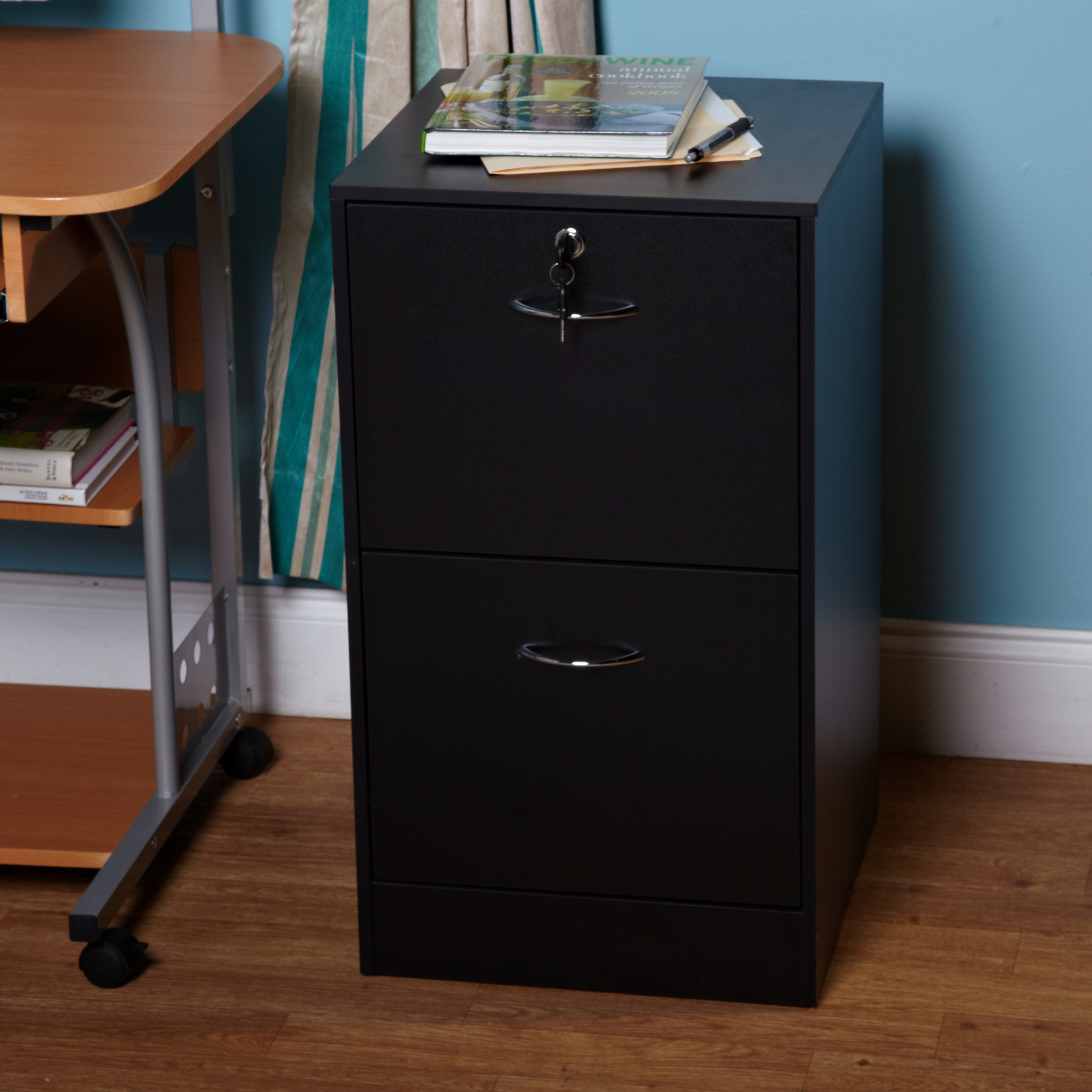 Wilson 2 Drawer Vertical Wood Lockable Filing Cabinet, Black