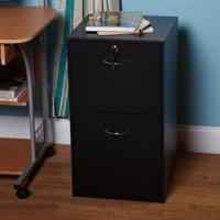 Wilson 2 Drawer Vertical Wood Lockable Filing Cabinet, Black