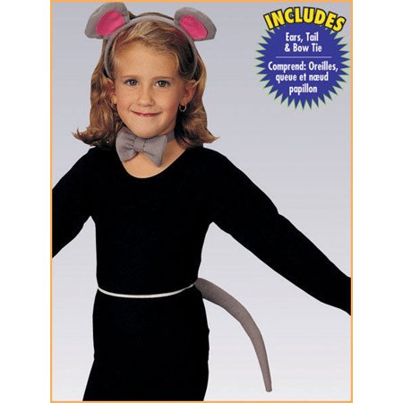 Child Girls Grey Gray Mouse Ears Tail Kit Set Costume Accessory