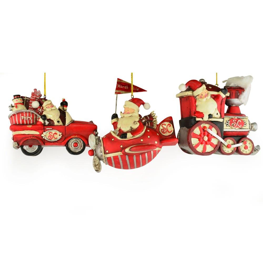 Santa Car, Plane and Train Christmas Ornaments