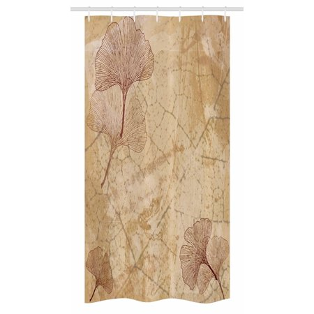 Beige Stall Shower Curtain, Small Large Ginkgo Leaves Pattern Dramatic Dated Fossil Maidenhair Tree Nature Art, Fabric Bathroom Set with Hooks, 36W X 72L Inches Long, Beige Brown, by Ambesonne ()