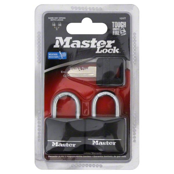 Master Lock Padlock 131T Covered Aluminum Lock Body, 1-3/16 in. Wide, Black