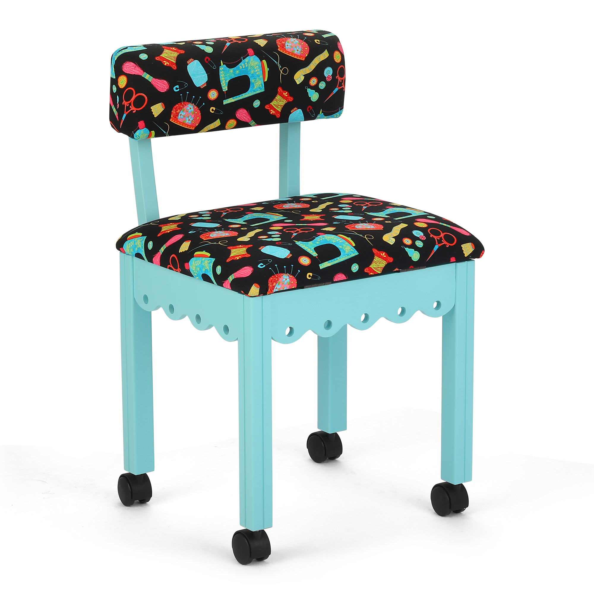 Awesome Arrow Wood Sewing And Craft Chair With Gingerbread Design Under Seat Storage And Print Upholstery Fabric Andrewgaddart Wooden Chair Designs For Living Room Andrewgaddartcom