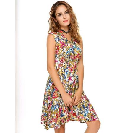 Women Dress Sleeveless Vintage Lace Patchwork O Neck Bohemian Tunic Dress Caroj - image 4 de 8