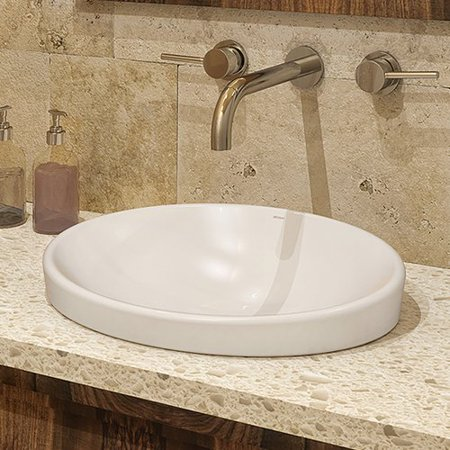 DECOLAV Delphine Classically Redefined Vitreous China Oval Drop-In Bathroom Sink with - Decolav Pedestal Sink